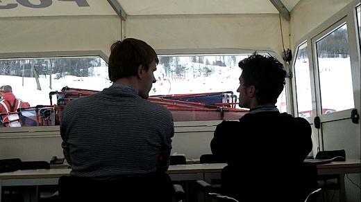 Работа волонтеров во время соревнований по сноуборду 2012.