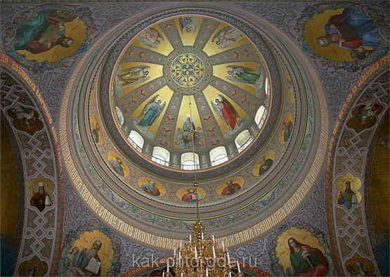 Valaam, vid kupola v verkhnem khrame sobora