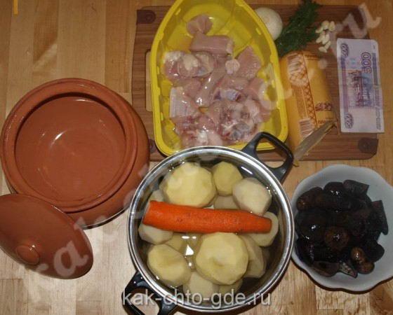 Курица с картошкой, с грибами в горшке