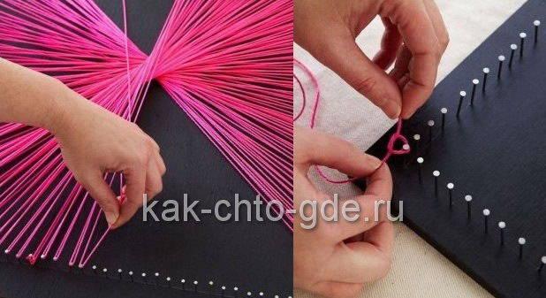 екоративное панно фото из ниток и гвоздей